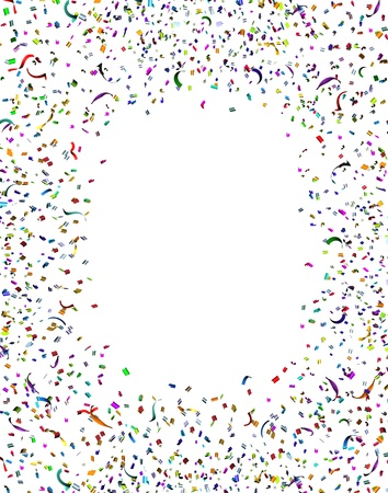 Viering en feest confetti frame en slingers in de lucht als een feestelijke ontwerp element voor een jubileum of verjaardag leuk met een stel van papier van verschillende kleuren exploderen in vrolijke emotie