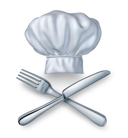 gorro chef: Chef sombrero con un cuchillo y un tenedor silverwear como un s�mbolo de restaurante de comida y bebida de la experiencia culinaria de ocio en un fondo blanco para la cocci�n de la buena cocina y comidas gourmet