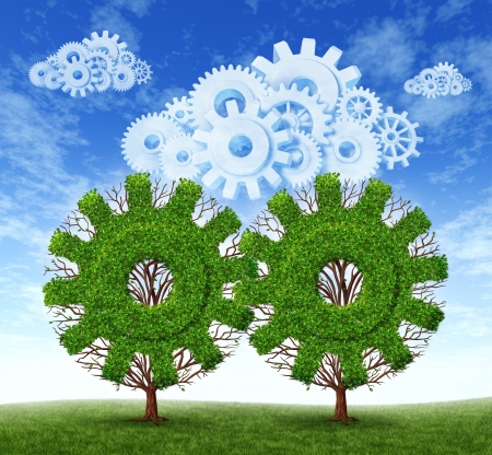Cloud computing growth and the future of virtual storage and internet based remote desktop illustrated by trees and clouds in the shape of gears and cogs working together as a concept of the growing success of  mobile computer technology  스톡 콘텐츠