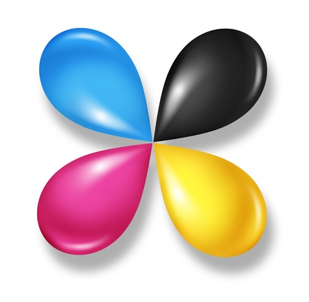 CMYK flower icon concept as cyan magenta yellow and black drops of ink or paint toner as a star symbol of four color printing and designer calibration of saturation and tonality of printed and digital content