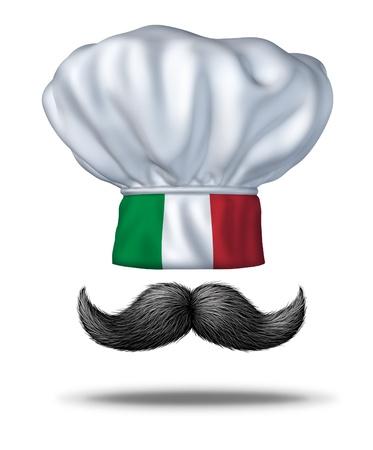 bandera de italia: La cocina italiana y la comida de Italia con un sombrero de chef con la bandera verde blanco y rojo y un tradicional manillar espeso bigote negro como símbolo de la rica cultura culinaria de los italianos y la cocina que cocinar en casa de mamas o en un restaurante