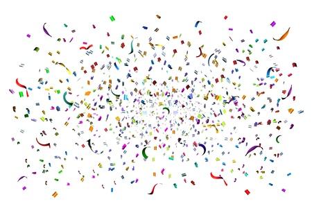 serpentinas: Parte tiempo de celebración de confeti y serpentinas en el aire como un elemento de diseño de fiesta para un aniversario o un cumpleaños divertido con un montón de papel de diferentes colores en la explosión de emociones felices