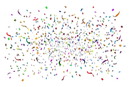 Party time celebration with confetti and streamers in the air as a festive design element for an anniversary or birthday fun with a bunch of paper of different colors exploding in happy emotion