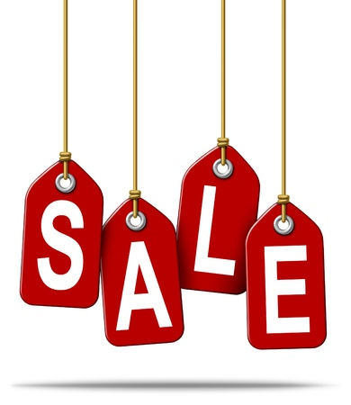 pricetag: Price tag with the text sale as a red label with hanging strings tied to the paper commercial symbols of marketing and advertising discount on merchandise or services that are on special on white  Stock Photo