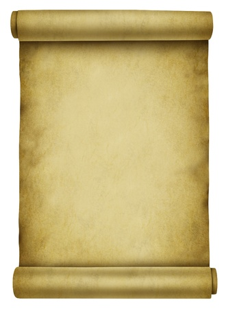 rolled scroll: Blank scroll on ancient parchment paper document used for a background for a letter or message announcement from antique obsolete times or midievel note that is rolled up on a white background