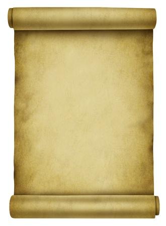 oud document: Blank scroll op oude perkament papieren document gebruikt voor een achtergrond voor een brief of bericht aankondiging van antieke verouderde keer of midievel er rekening mee dat wordt opgerold op een witte achtergrond