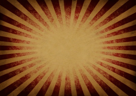 festive background: Retro vintage exploding red and orange star burst or sunbeam background in an old grunge festive antique texture as a design element with a blank area for easy text editing