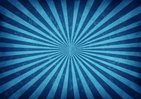 방사상: 고대 양피지 종이에 에너지와 흥분의 상징으로 중심에서 발산하는 푸른 줄무늬의 오래 된 종이 질감을 가진 레트로 그런 지 광선 태양 광선 고대를 배경으로 푸른 빈티지 스타 버스트 디자인