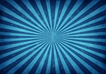 grunge background: Blue vintage star burst design as a retro grunge radial sun beam antique background with old paper texture of blue streaks radiating from the center as a symbol of energy and excitement on ancient parchment paper