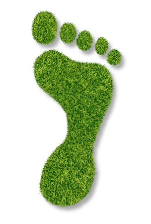 green footprint: Carbon footprint or gardening symbol with green grass natural turf in the shape of a foot print as an icon of nature and the environment friendly pollution free and conservation issues on a white background