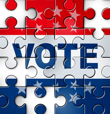 voter: Democracy vote and voting problems and irregularities in casting an election choice that is fair and transparent as a broken puzzle with missing jigsaw pieces as a symbol of American conservative and liberal political campaign issues