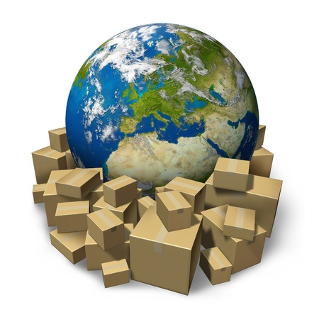shipping package: Europe package delivery with a world sphere of the European union countries surrounded by stacks of cardboard box packages as freight distribution and transportation elements of this image furnished by NASA  Stock Photo