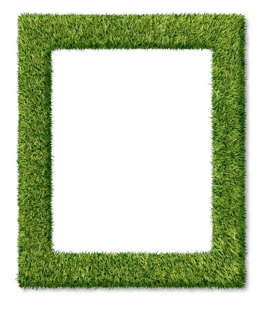 contemporary: Grass frame or green turf matted as a dimensional decorative symbol of nature and the environment also can relate to golfing concept or summer gardening with a blank empty center area on a white background