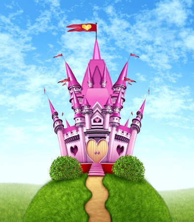 kingdoms: Magical pink castle as a fantasy princess with a fun royal kingdom on a green grass mountain top with a golden path as a girls toy dream or dreaming of a fairy tale of nobility with heart shapes and magic elegance