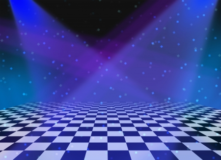 disco symbol: Party dance and dancing floor made of checkered tiles and shining spot lights with sparkles and luminouse reflections as a fun disco music related entertainment background for an announcement or festive message