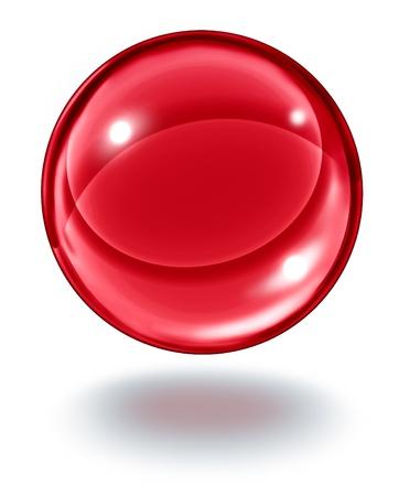 esfera: Bola de cristal rojo flotando en el aire como una esfera transparente gema de rubí de vidrio en blanco con una sombra como símbolo de visiones de futuro y las predicciones paranormales de lo que vendrá en las finanzas y la fortuna personal Foto de archivo