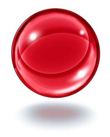 superstitions: Red crystal ball floating in the air as a transparent ruby glass gem sphere on  white with a shadow as a symbol of future visions and paranormal predictions of things to come in finances and personal fortune