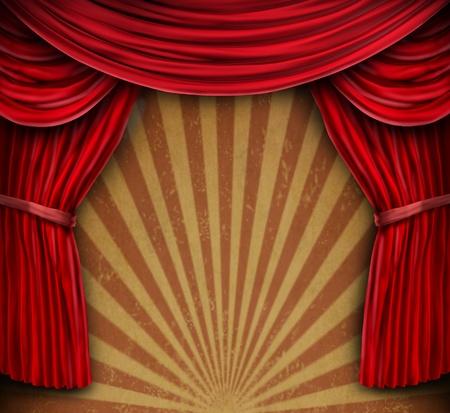 cortinas rojas: Cortinas de terciopelo rojo o cortinas en una pared del grunge de edad con un dise�o del sol explosi�n radial como un fondo de entretenimiento para las artes esc�nicas o de un anuncio importante o un mensaje de evento divertido communcation