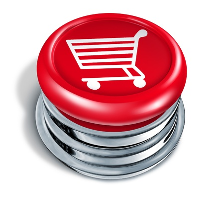 Shopping button and online shop icon with a red circle push key with a shop cart as an icon of buying merchandise or services from the internet or home based business as an e-commerce concept of web sales on a white background