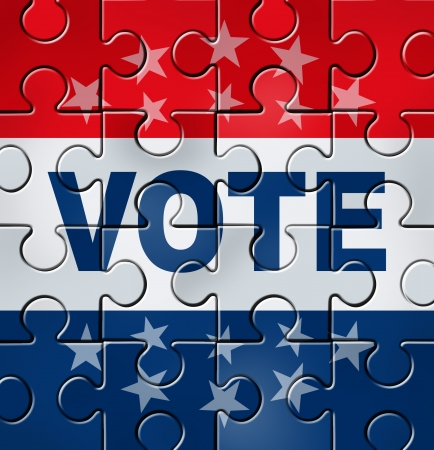 Vote in a political campaign concept with a graphic element icon of voting as a jigsaw puzzle that is complete representing democratic elections organisation and campaigning for government positions of power between conservatives and liberals