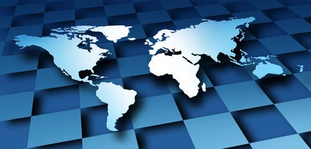World map dimensional design with a global modern graphic representing international business and the economy and banking financial system of the globe on a blue geometric background Stock Photo - 13163415