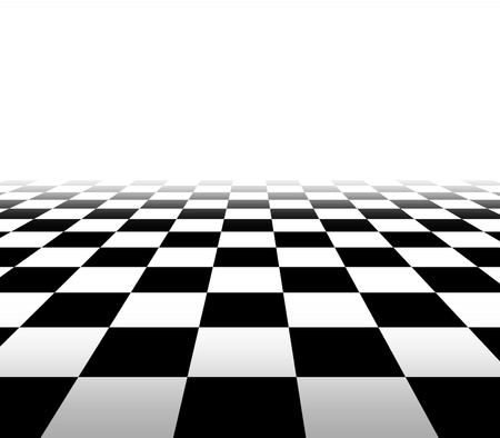 Checkered background floor pattern in perspective with a black and white geometric design fading to white in the distance with a blank area for your text  photo