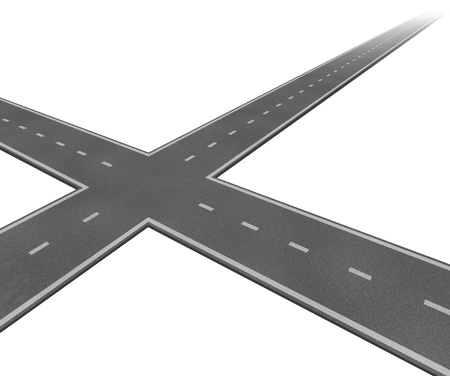 dilema: Crossroad concept with two roads crossing as a business symbol of decision taking and facing difficult financial choices deciding to choose the best path to success and wealth on a white background  Stock Photo