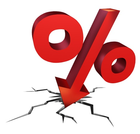 Falling interest rates as a red percentage sign as a symbol of an  economic crash withh aa arrow falling down as a decline in money to be payed or bad investment decisions on a white background
