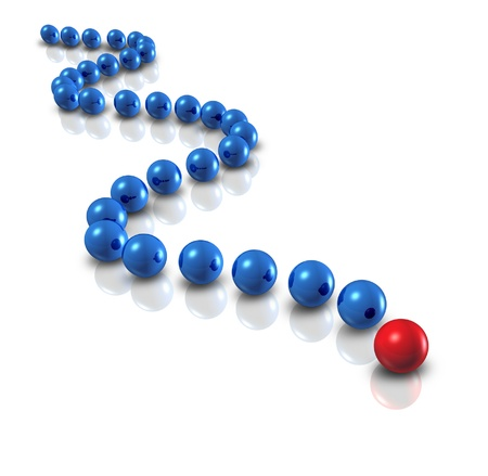 group strategy: Follow the leader and power leadership concept with blue spheres as followers and a single red ball as the authority guiding with a plan and business group strategy for team success on a white background  Stock Photo