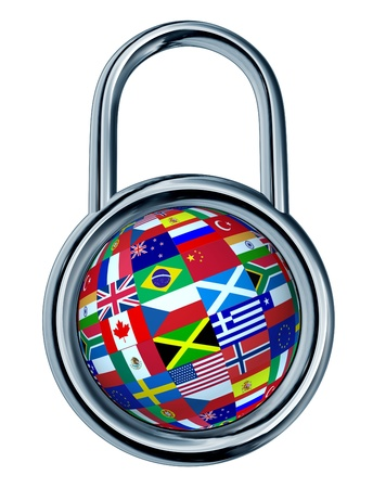 mapped: Global security concept with a chrome lock symbol in a circle shape and a sphere with flags of the world mapped on the ball as a symbol and icon of international safety from internet hacking and criminal activity protection  Stock Photo