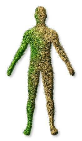 and decline: Human body disease and illness concept with a patch of green grass turf turning brown as a dying lawn and an icon of health care and medical needs of an aging elderly person who needs medicine care on a white background
