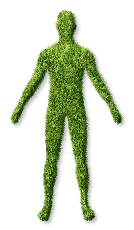 Human health and growth as a symbol of personal success in living a healthy life as an icon of health care medicine and medical issues represented as a patch of green grass turf in the shape of a body on white  photo
