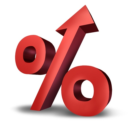 rates: Rising interst rates symbol with a dimensional red percentage sign pointing upward as an icon of success or increasing financial payments and taxes on a white background