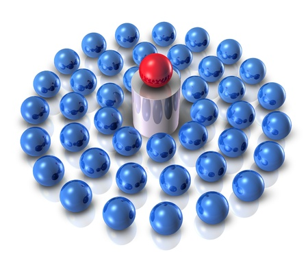 role model: Role model as a leader concept with a guru teacher as sphere symbols on a podium teaching and training team follower students who learn from the guidance of business leadership and clear confident vision on a white background