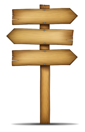 directional: Wooden direction arrow sign with pole as an old western theme wood and weathered woodgrain design element of communication as an element of choice and solutions with a blank area for text on a white background  Stock Photo