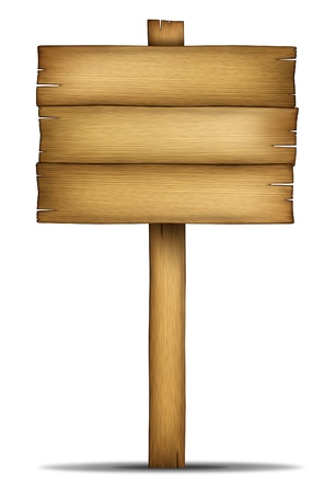 old sign: Wooden sign with pole as an old western theme wood and weathered woodgrain design element of communication with a blank area for text on a white background  Stock Photo