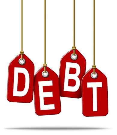 borrowing: Financial debt money problems concept and over spending using credit cards and borrowing institutions resulting in bankruptcy and loss with red price tags hanging down with strings on a white background