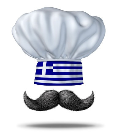 greek cuisine: Greek cooking and food from Greece with a chef hat with the blue and white flag and a traditional handlebar black thick mustache as a symbol of the rich culinary culture of traditional mediterranean cuisine