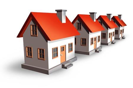 residential neighborhood: Desarrollo de la vivienda y el concepto de mercado de bienes ra�ces con casas y casas residenciales en una fila punto de vista como un s�mbolo de la industria de la construcci�n y las tasas hipotecarias sobre un fondo blanco Foto de archivo