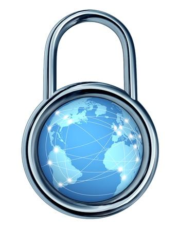 to lock: Cerradura de seguridad de Internet con un s�mbolo de bloqueo en la forma de un c�rculo en torno a una dimensi�n icono mundial de la red inform�tica de todo el mundo la protecci�n de datos de los hackers y delincuentes cibern�ticos aislados sobre un fondo blanco
