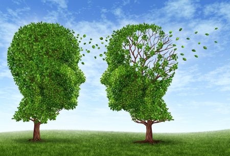 Living with alzheimers disease with two trees in the shape of a human head and brain as a symbol of the stress and effects on loved ones and caregivers by the loss of memory and cognitive intelligence function