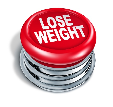over weight: Lose weight fast button as a concept of dieting and healthy eating and low calorie slimming down with nutrition and exercise for human loss of fat and losing pounds for a slimmer body on a white background
