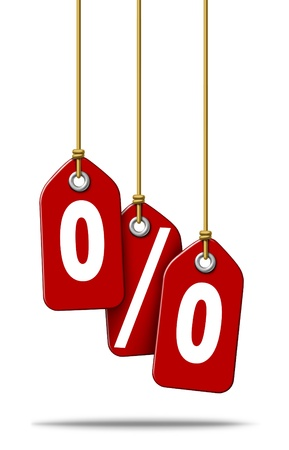 Percent price tag sale with three red tags representing the text icons for a special low percentage off the regular price as a symbol of debt financing or saving money for shopping at retail stores on a white background  Stock Photo - 13325448