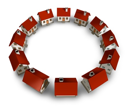 residential neighborhood: Residential community and real estate circle neighborhood with homes and houses lined up in a circular blank frame shape representing a close knit family in a housing project on a white background
