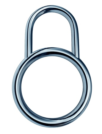Security lock concept with a strong metallic chrome secure equipment icon in a circular shape with a blank area as a safety protection symbol of internet firewall privacy isolated on a white background  Stock Photo - 13325464