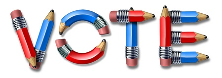 Voting and democracy symbol with red and blue pencils in the shape of the word vote as a democratic concept for freedom of assembly and free to choose the leaders in government from electoral parties Stock Photo - 13325459