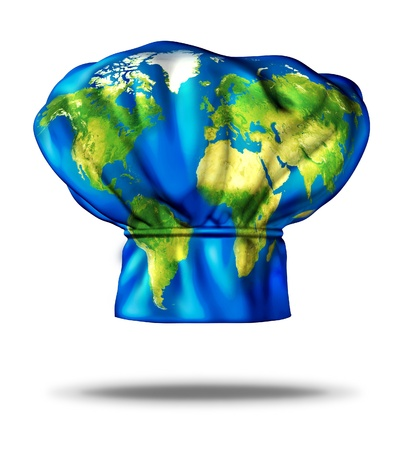 World cuisine and international meals as Greek Italian Mexican American French and Chinese or Japanese food represented by a restaurant cooking chef hat with an illustration of the earth mapped on the cap on a white background