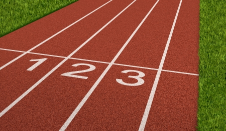 Competition sport concept at the starting line as a business symbol of the metaphore saying ready set go for the beginnings of a planned strategy for success as represented by a track and field stadium background as an icon of opportunity and setting goal photo