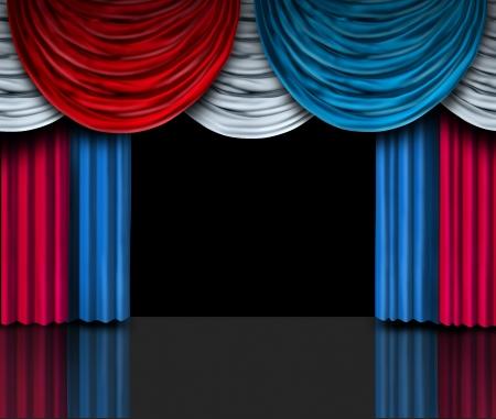 Verkiezing presentatie podium met rood wit en blauw Amerikaanse vlag kleur gordijnen als metafoor voor een politieke soap box voor campagne voeren over sociale beleidskwesties om de stemming te winnen in een vrij democratisch proces