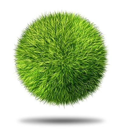 Environmental conservation grass sphere as a natural symbol of ecology and clean energy icon with a round ball made of green healthy plants on a white background  Stock fotó